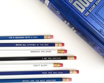 Doctor Who Pencil Set — 7Imprinted Pencils — Bow Ties Are Cool, Madman with a box, I am the Doctor, Books are the Best Weapon