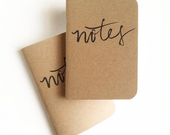 Notes — Pocket-Sized Hand Lettered Notepad, Notebook, Journal in Kraft — 80 pages — Handbag Accessories, Note-taking, Small Gift