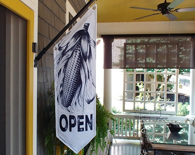 FARM OPEN FLAG * Huge Ear of Corn * double sided * heavy weight canvas * handmade pole & bracket *  printed on both sides * farm stand