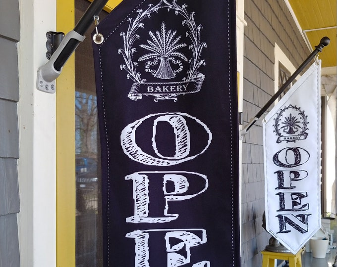 BAKERY CHALKBOARD OPEN flag * double sided * heavy weight canvas * handmade pole & bracket *  black, white or linen canvas * 99 dollars