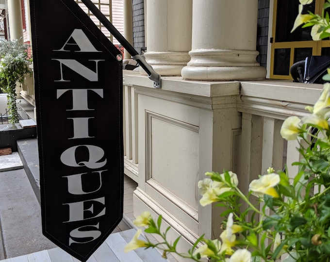 ANTIQUES ELEGANT FONT Flag * double sided * heavy weight canvas * handmade pole & bracket *  black or white *  99 dollars