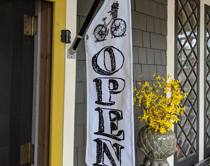BICYCLE OPEN flag * double sided * heavy weight canvas * handmade pole & bracket *  black or white *  99 dollars