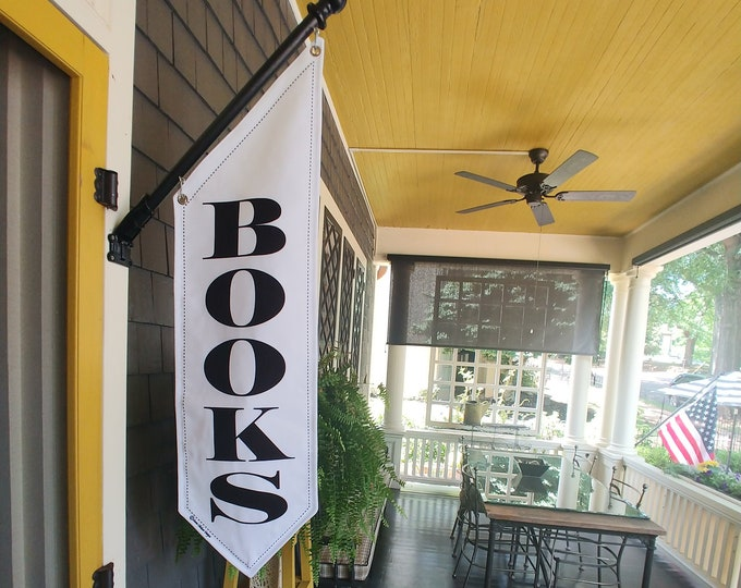 ANY WORD ELEGANT flag * double sided * heavy weight canvas * handmade pole & bracket included *  Any word you like *