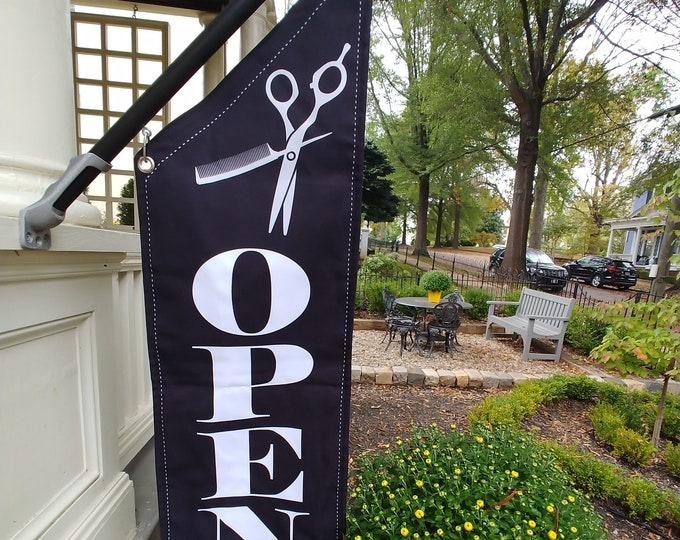 ELEGANT SALON OPEN Flag  * Black, White or Split Canvas * double sided outdoor canvas * pole & bracket included