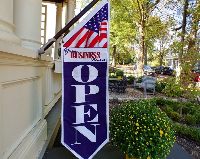 AMERICAN OPEN FLAG  * double sided * heavy weight canvas * handmade pole, bracket * any name on banner * 129 dollars