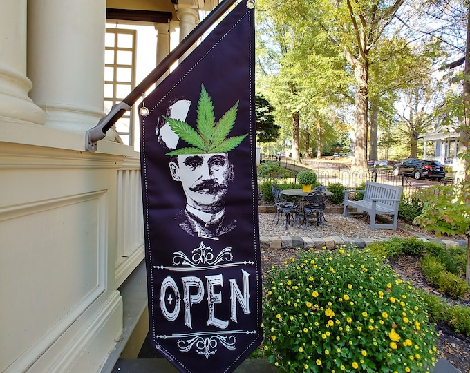 POT Head Man OPEN flag * double sided * heavy weight canvas * handmade pole & bracket *  printed on both sides * Flowers or Pot Leaf * CBD