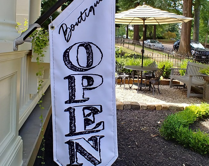 TOP BANNER OPEN flag,  * printed on both sides * heavyweight canvas * handmade pole & bracket * Boutique, Salon, Gallery, Spa * 109 dollars