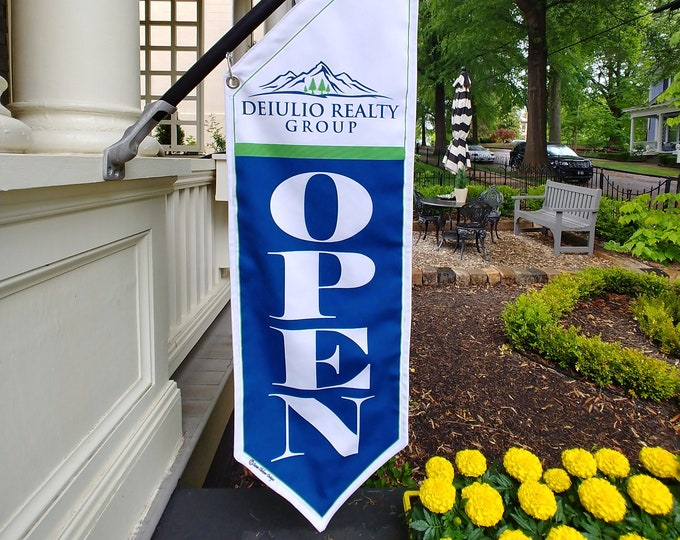 "CUSTOM ""REALTOR"" OPEN flag * double sided * heavy weight canvas * handmade pole & bracket *  printed on both sides *  179 dollars"