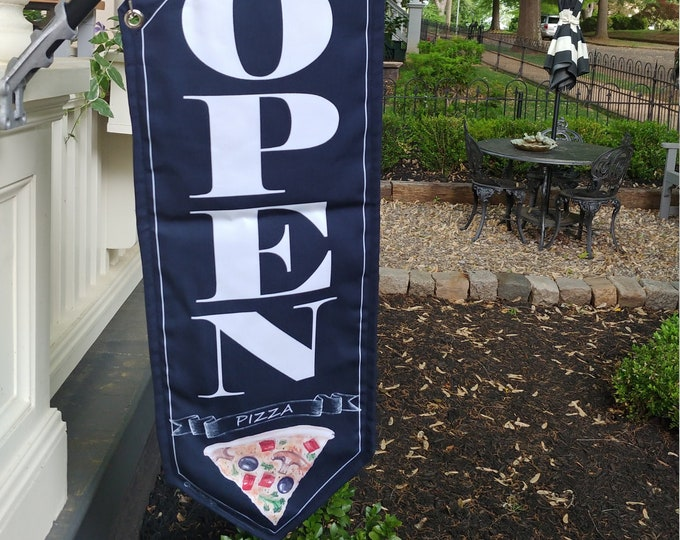 PIZZA flags BLACK or WHITE canvas * double sided * heavy weight canvas * handmade pole & bracket
