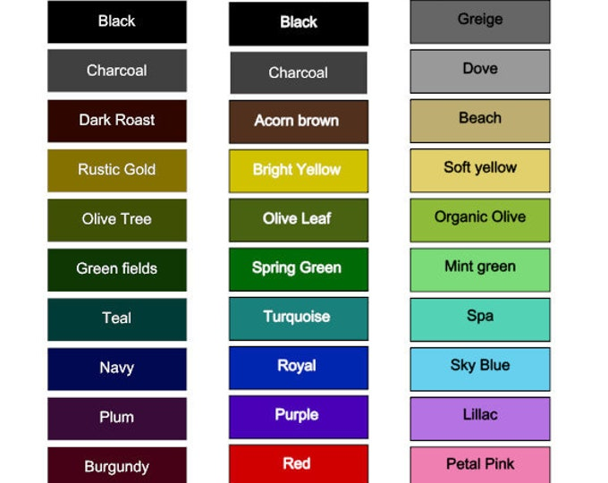 COLOR CHART for OPEN flags - sample of our most popular colors
