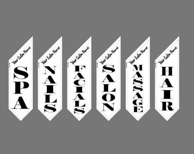SALON FLAG w/Custom Header  * double sided * heavy weight canvas * handmade pole & bracket * printed on both sides * 109 dollars each