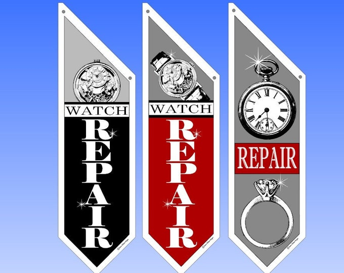 RETAIL Watch & Jewelry REPAIR flags  * Several designs to choose from * double sided * heavy weight canvas * Hardware included