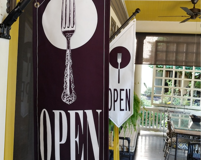 RESTAURANT OPEN flags * simple black/white * double sided * heavy weight canvas * handmade pole & bracket