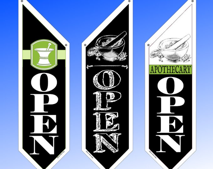 APOTHECARY OPEN flags  * Three designs * double sided * heavy weight canvas * pole & bracket included * Pharmacy, Medical Profession