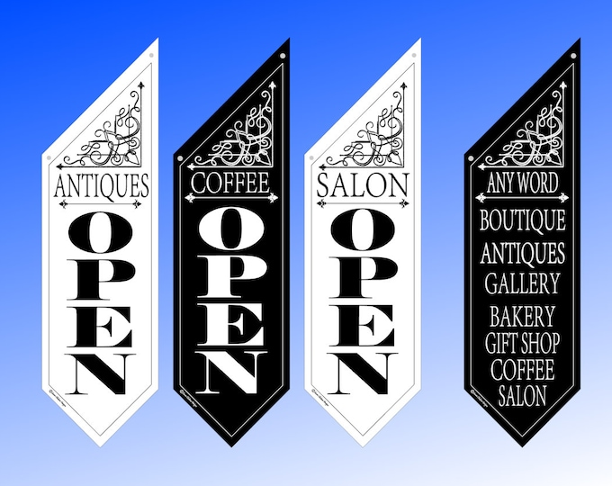ELEGANT OPEN Flag Bracket Design * Black or White Canvas * double sided outdoor canvas * pole & bracket included * ANY top phrase you like