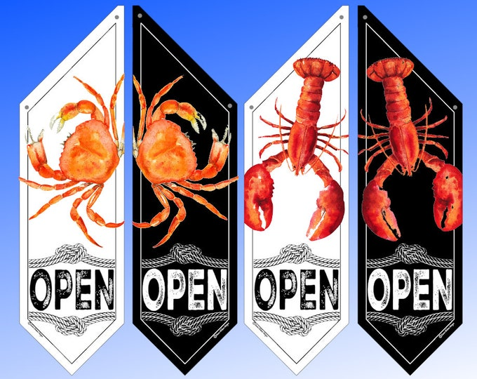 LOBSTER or CRAB OPEN flags * double sided * heavy weight canvas * pole & bracket included * white or black canvas