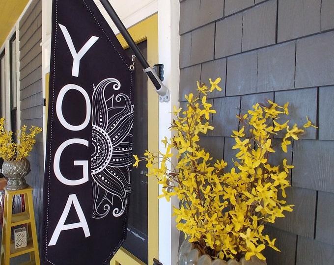 MANDELA YOGA or OPEN flag * double sided * heavy weight canvas * handmade pole & bracket * linen canvas * choose open or yoga