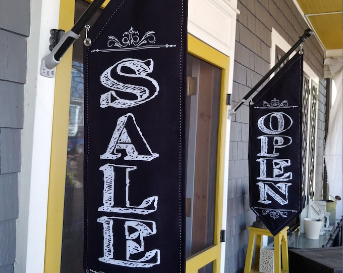CHALKBOARD OPEN and SALE flag Set * double sided * heavy weight canvas * handmade pole & bracket * Black or White canvas * 179 dollars pair