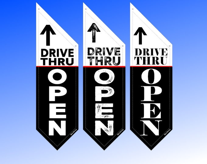 DRIVE THRU OPEN flag *  double sided * heavy canvas * pole & bracket included * both sides *  109 dollars