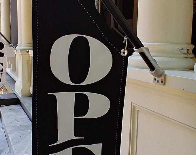 SPECIAL Sale *69* Dollars * BLACK NAVY Elegant open flag * double sided * heavy weight canvas * handmade pole & bracket * Navy/Black