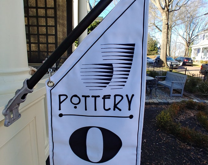 POTTERY Studio OPEN Flag  * Black, White or Split Canvas * double sided outdoor canvas * pole & bracket included Personalized