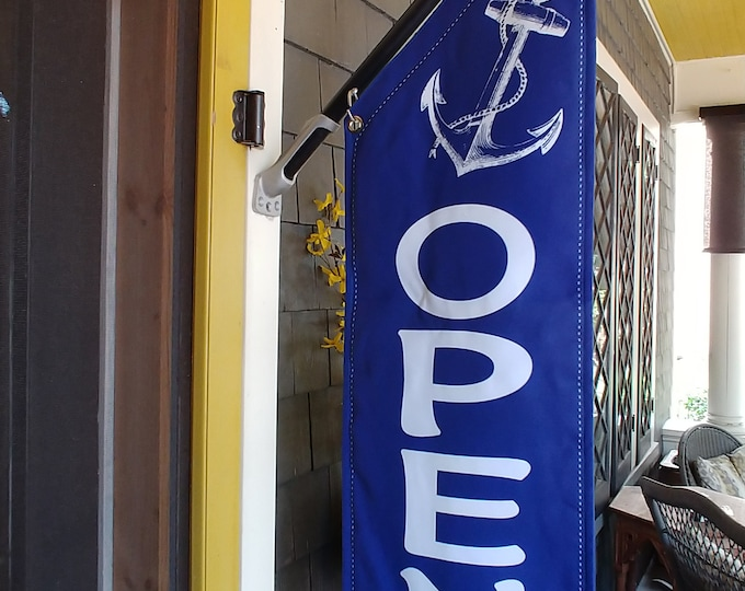 ANCHORS AWAY OPEN flag * double sided * heavy weight canvas * handmade pole & bracket * linen canvas *  99 dollars