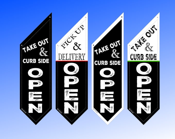 TAKE OUT and OPEN flag * ships in 24 hours * double sided * heavy canvas * handmade pole & bracket included * both sides *  99 dollars