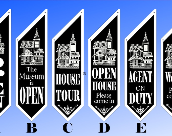 VICTORIAN HOUSE flags  * Six designs * double sided * heavy canvas * handmade pole & bracket included * Realtors, Museums, Tours, Open House