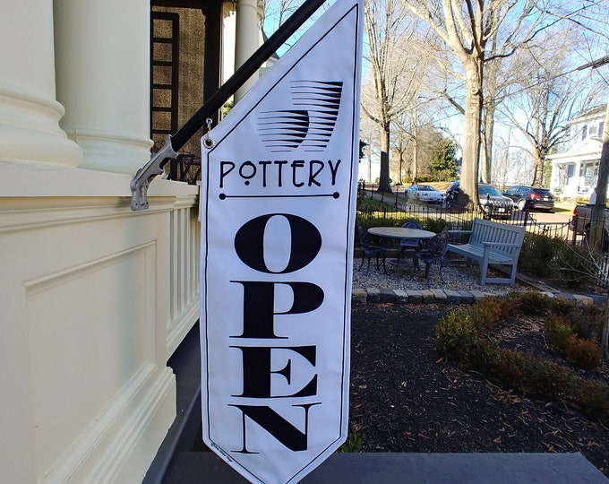 POTTERY OPEN Flag  * Black, White or Split Canvas * double sided outdoor canvas * pole & bracket included