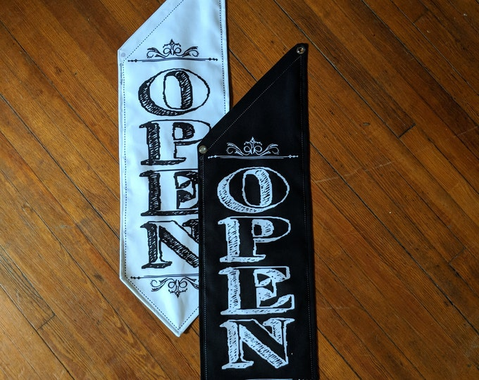 Victorian CHALKBOARD OPEN FLAG with flourishes * double sided * heavy canvas * handmade pole & bracket * black or white * 99 dollars