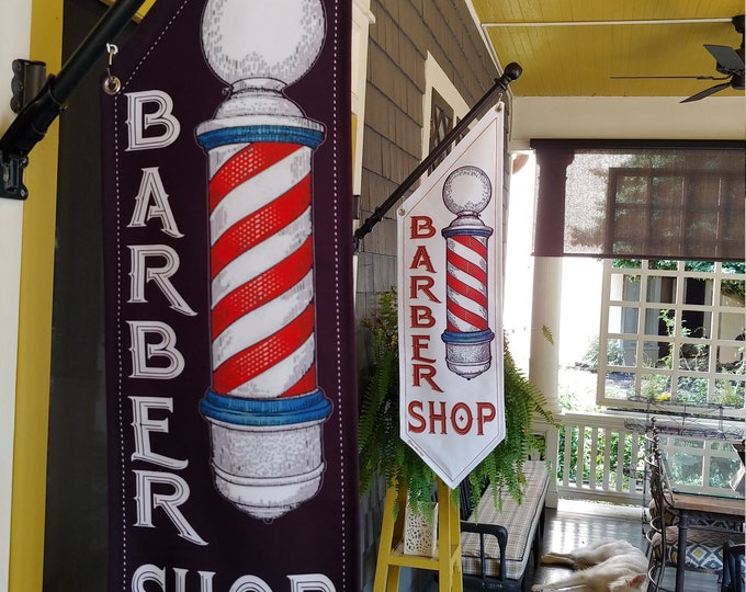 BARBER SHOP OPEN flags  * Four designs to choose from * double sided * heavy weight canvas * handmade pole & bracket included