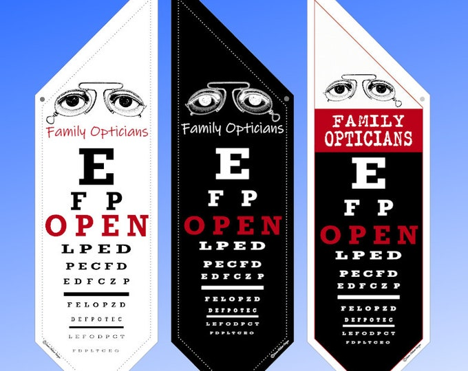 Eye Doctors Optometrists and Ophthalmologists Professional OPEN Flag  * Personalized * double sided outdoor canvas * pole & bracket included
