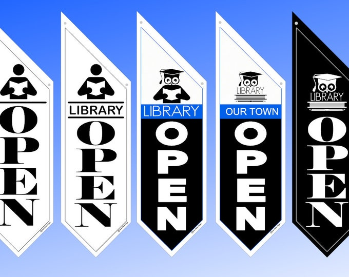 "Custom ""LIBRARY"" OPEN flag * double sided * heavy weight canvas * handmade pole & bracket *  printed on both sides *  129 dollars"
