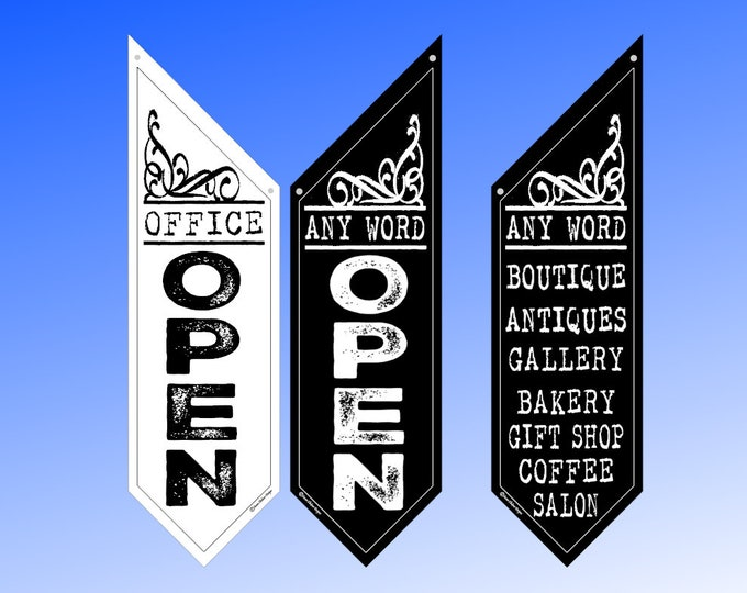 BOLD SPONGE OPEN Flag with any top phrase you like  * Black or White Canvas * double sided outdoor canvas * pole & bracket included