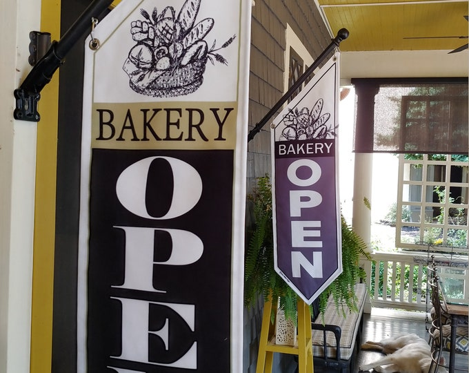 BAKERY OPEN flags  * Four designs * double sided * heavy weight canvas * pole & bracket included *