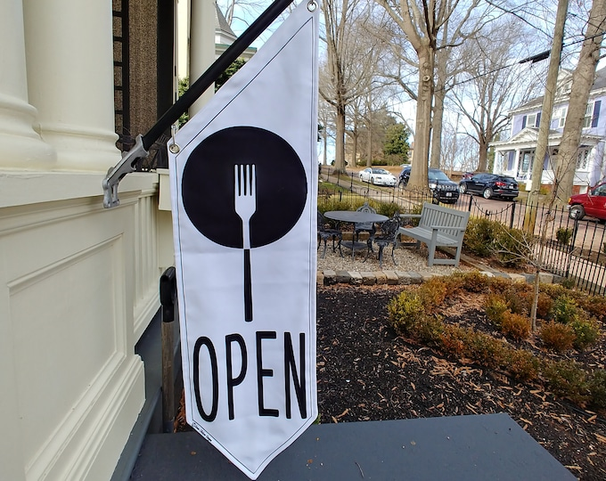 RESTAURANT OPEN Flag  * Black, White or Split Canvas * double sided outdoor canvas * pole & bracket included