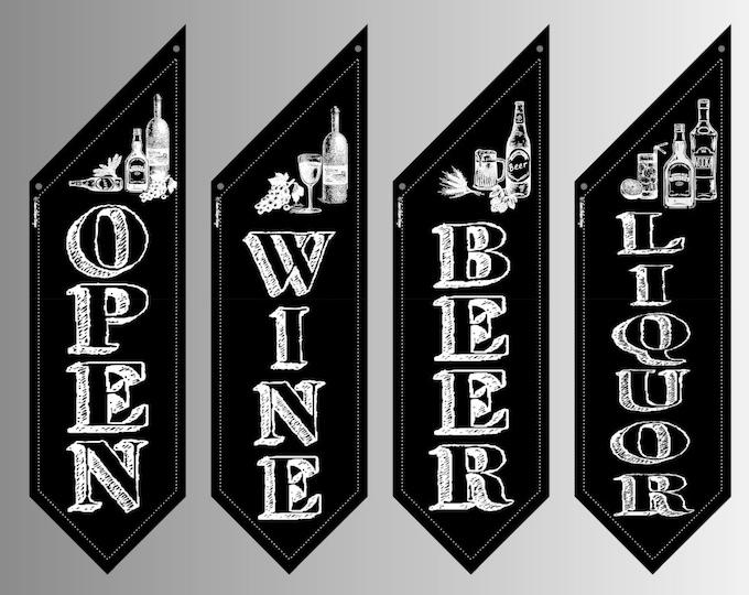 CHALKBOARD OPEN flag * double sided * heavy weight canvas * handmade pole & bracket * Beer Wine Liquor or OPEN * 99 dollars