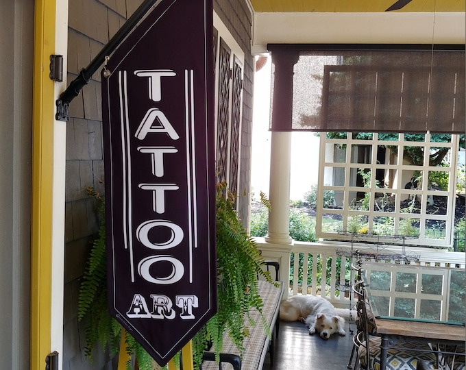 TATTOO or BODY PIERCING flag * double sided * heavy weight canvas * handmade pole & bracket * linen canvas * choose tattoo or body piercing