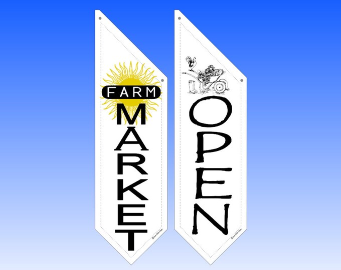 FARM MARKET OPEN flag * double sided * heavy weight canvas * handmade pole & bracket *  printed on both sides *