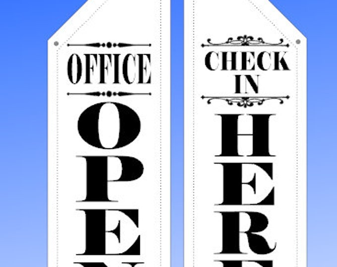 OFFICE OPEN  and Check in HERE flags  * two designs * double sided * heavy weight canvas * pole & bracket included * property managment