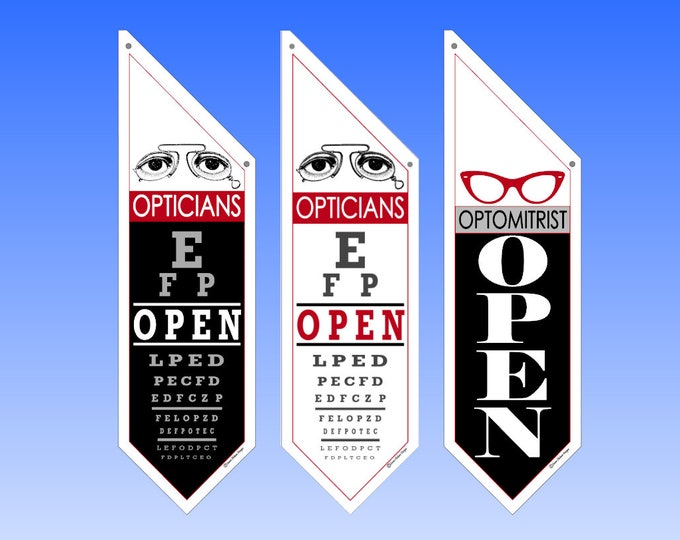 OPEN FLAG for OPTOMITRISTS  * double sided * heavy weight canvas * handmade pole, bracket * Ophthalmologists * eye doctors * contact lenses