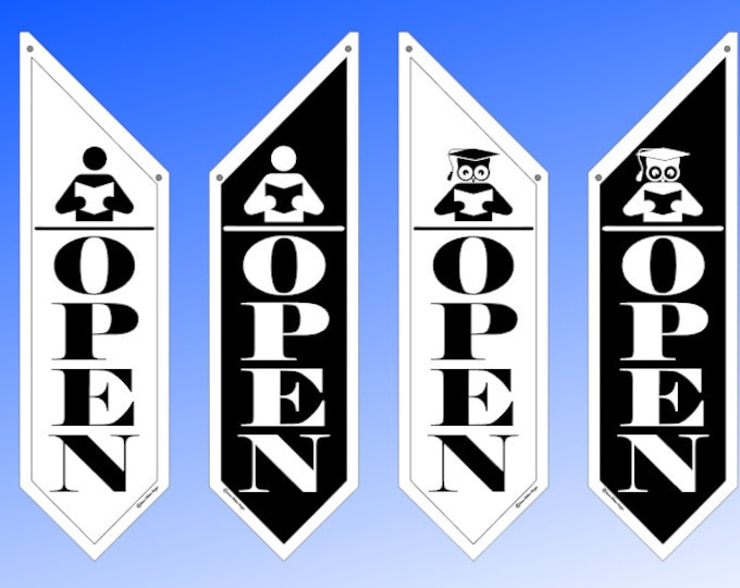 LIBRARY OPEN Flag  * No Frills Simple * Black or white * Reader or Owl * double sided outdoor canvas * pole & bracket included