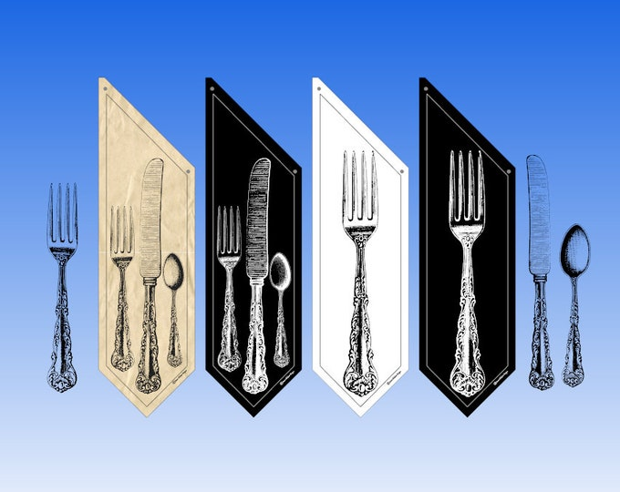 RESTAURANT OPEN flags * Super Silverware on black white or butcher canvas * double sided * heavy weight canvas * handmade pole & bracket