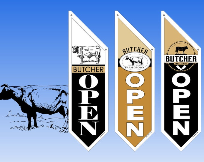 RETAIL BUTCHER Shop OPEN flags  * several designs * double sided * heavy weight canvas * handmade pole & bracket included