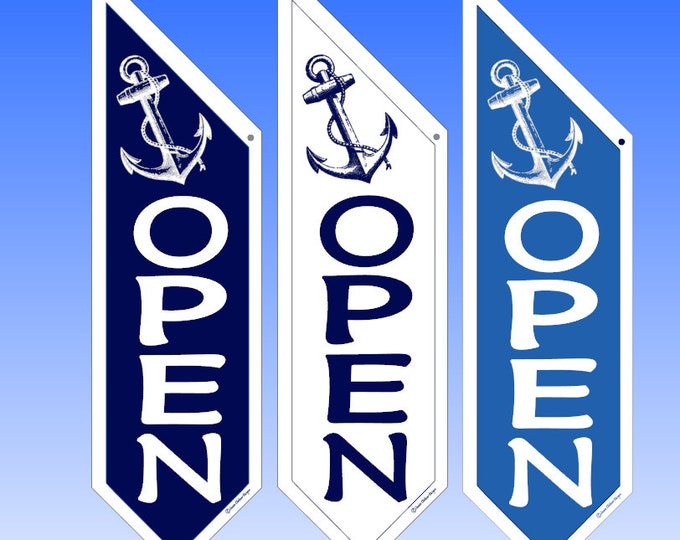 ANCHORS AWAY OPEN flag * double sided * heavy weight canvas * handmade pole & bracket * 3 color choices * Navy * Royal * White