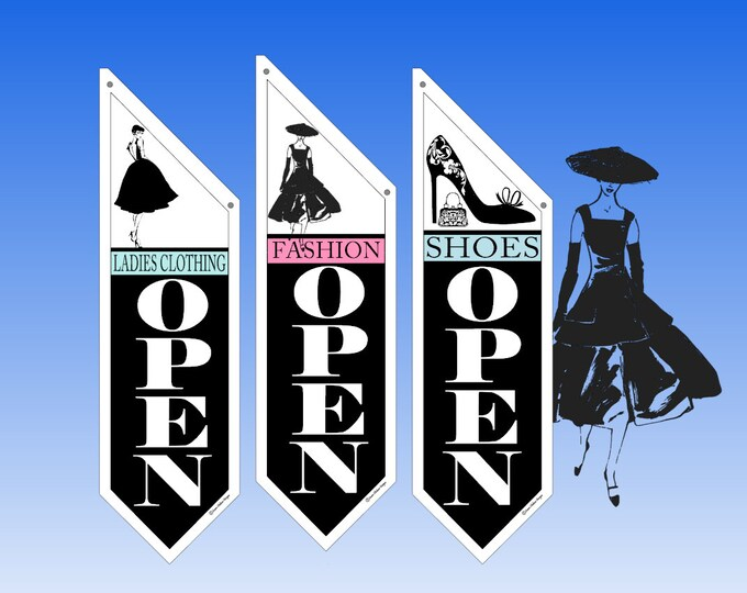 RETAIL Lady's CLOTHING flags  * Several designs to choose from * double sided * heavy weight canvas * handmade pole & bracket included