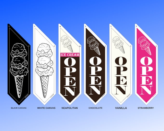 Scooped ICE CREAM OPEN flags Chocolate Vanilla or Strawberry or simple black/white * double sided * heavy canvas * handmade pole & bracket