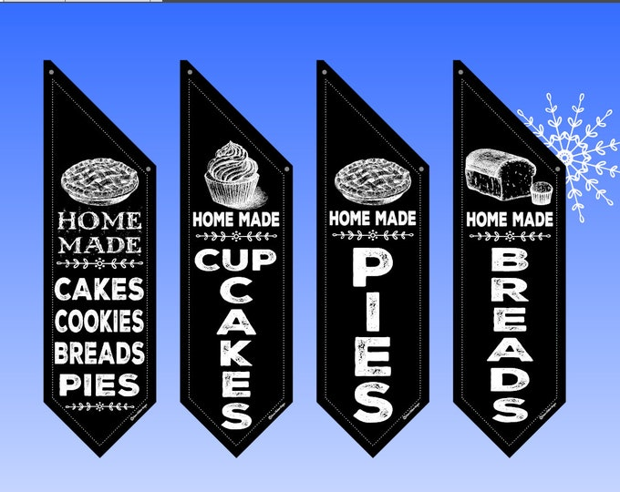 BAKED GOODS flags  * Several designs to choose from * double sided * heavy weight canvas * Hardware included