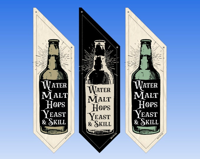 Beer BREWERY flags  * Three designs * double sided * heavy weight canvas * pole & bracket included * Brew Pub