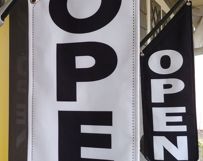 BASIC OPEN flag * double sided * heavy weight canvas * handmade pole & bracket *  printed on both sides * Black  OR   White